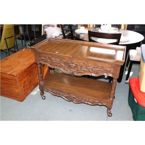1970's simulated pecan wood server with slide out tops exposing protective heat resistant surface ma