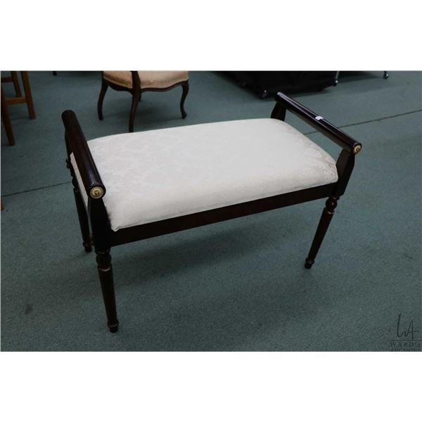 Semi contemporary antique style bed end bench with white on white upholstery