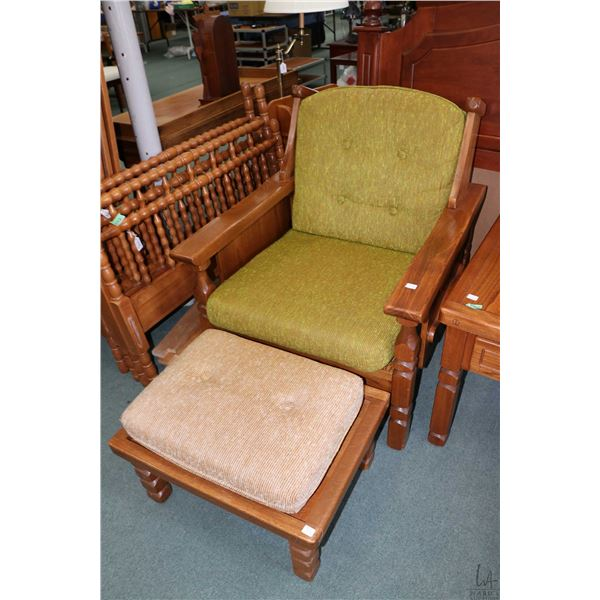 1970's retro armchair with matching foot stool and single drawer side table