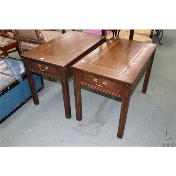 Pair of single drawer oak side tables with inlaid center panels