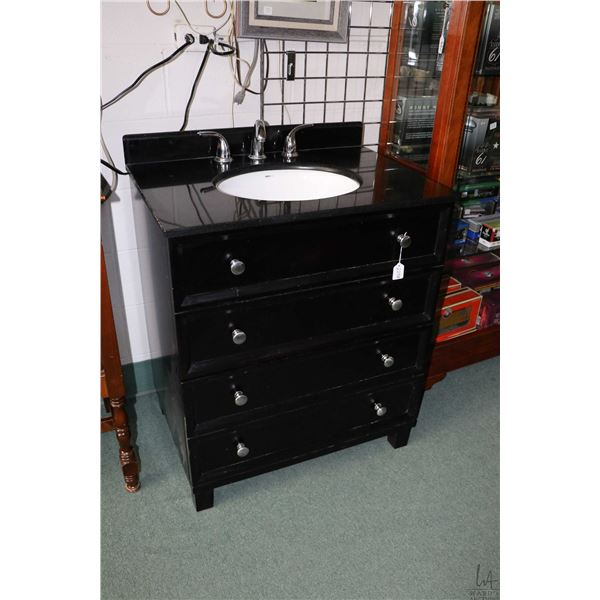 """Lightly used bathroom vanity with large drawer, granite top, under mount sink and fixtures, 30"""" wide"""