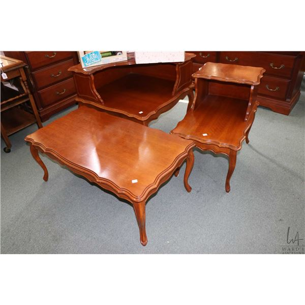 Set of three 1970's French provincial parlour room tables including a step side table, large step co