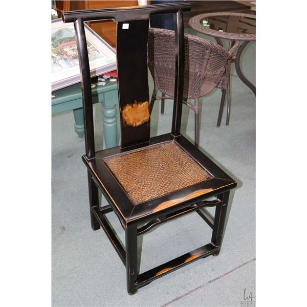 Semi contemporary Oriental style T back chair with simulated woven seat and distressed antiqued look