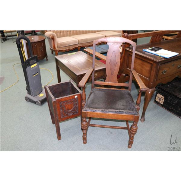 Walnut framed, open arm T-back dining chair and a wooden planter with carved panel