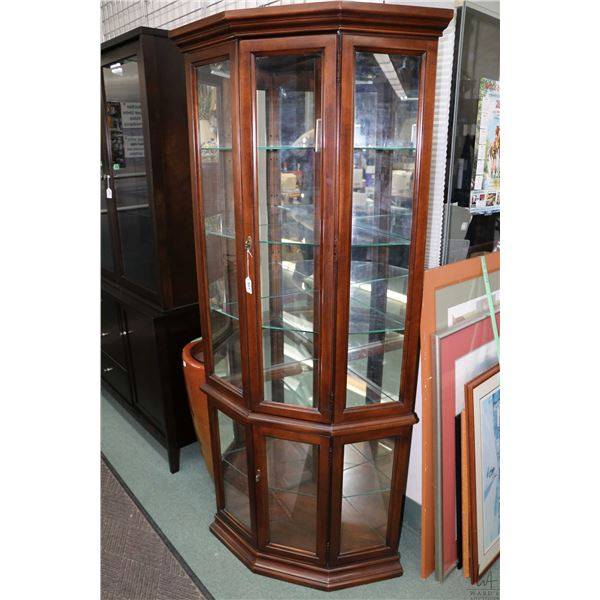 """Semi contemporary illuminated corner display cabinet with adjustable glass shelves, 72"""" in height"""