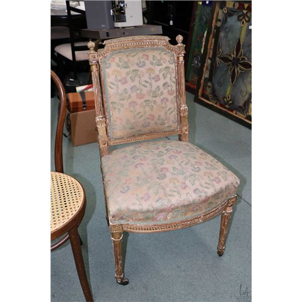 Antique French late 19th century gilt wood chair with original silk upholstery