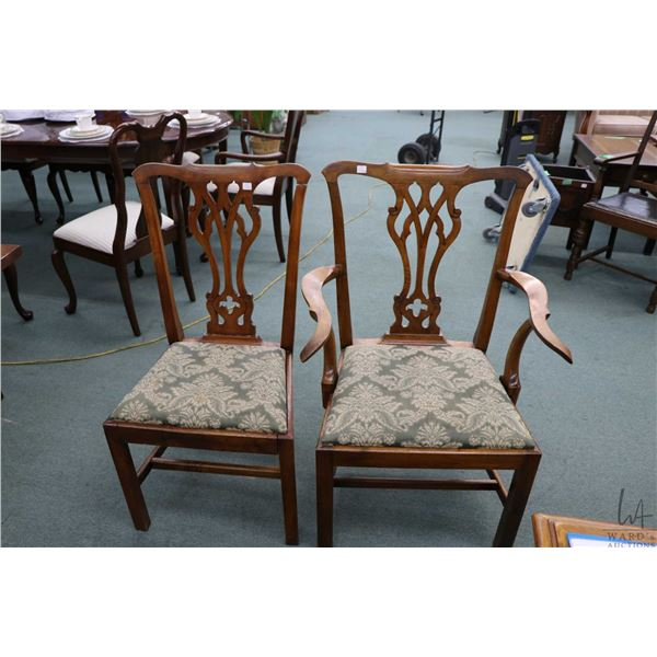 Set of six antique Chippendale dining chairs with fret work back and upholstered seats including fou
