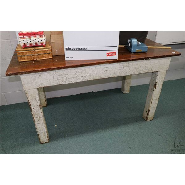 """Antique bakers table with white crackle paint base and lacquered top, 29"""" X 54"""""""