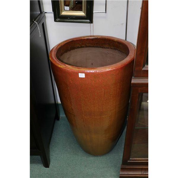"Large brick coloured glazed pottery floor vase 27 1/2"" in height"