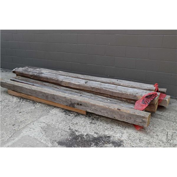 """Seven primitive hand cut timbers, five measure 4 1/2'"""" X 6"""" X 10', one measures 4 1/2"""" X 6"""" X 9' and"""