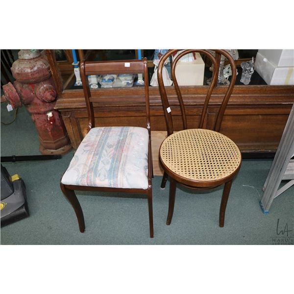 Bent wood chair with rattan seat and a walnut framed side chair