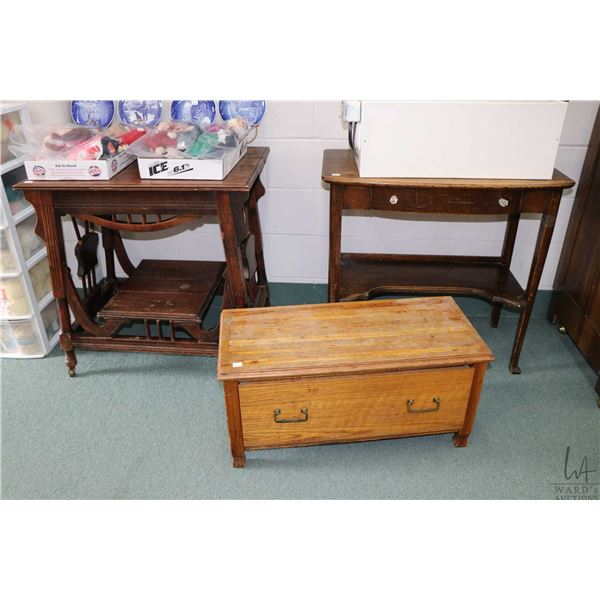 Three pieces of furniture including Eastlake side table, single drawer console table and a single lo