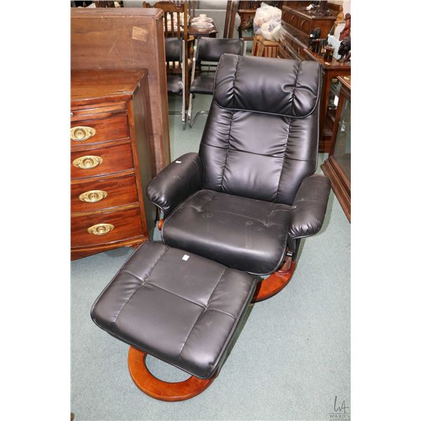 Swivel reclining parlour chair and matching ottoman