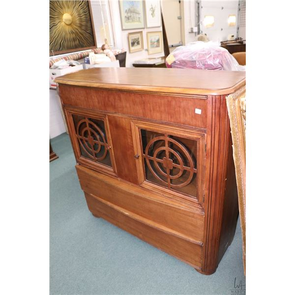 1950's sideboard with three drawers and two glazed doors