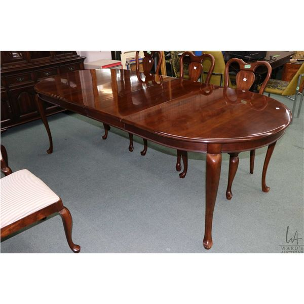 """Solid cherry dining table 42"""" X 33"""" plus two 16"""" skirted insert leaves, made by Gibbard"""