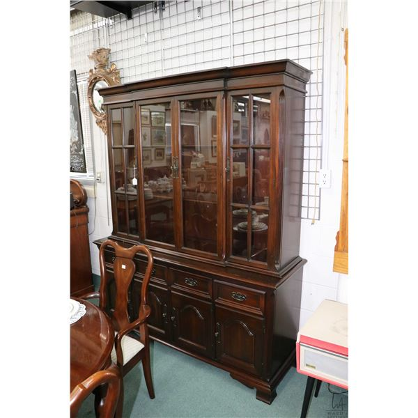 Solid mahogany, chest on chest sideboard and hutch, made by Gibbard, note finish crackled on top of