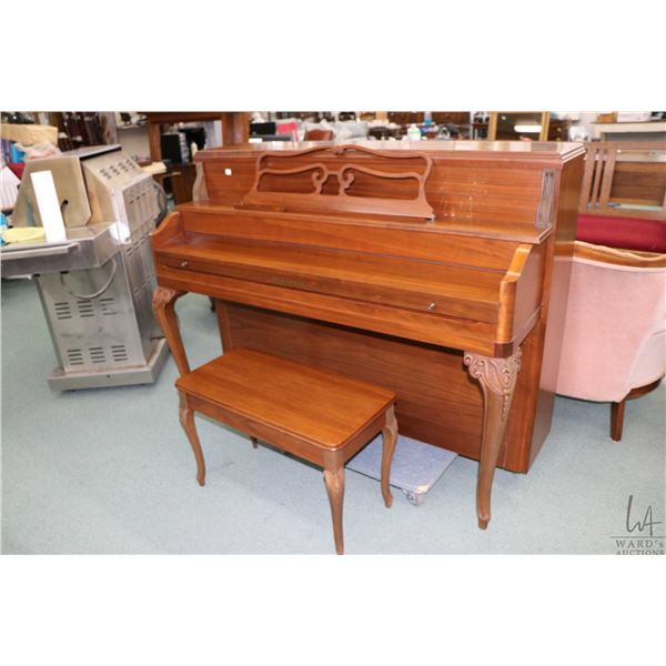Walnut cased Heinzman upright grand piano serial number 155414 appears to be in well cared for condi