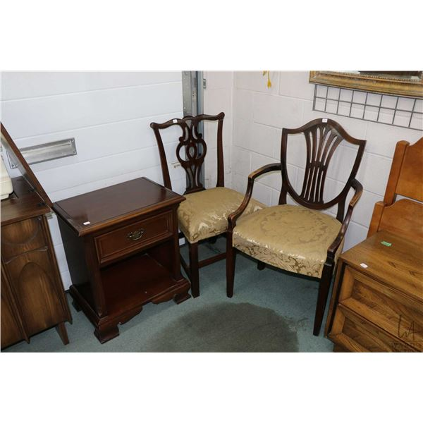 Two mid 20th century non-matching dining chairs and a single drawer Gibbard side table