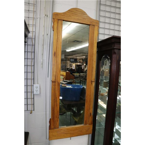 """Shop made, oak framed wall mirror, overall dimensions 54"""" X 20"""""""