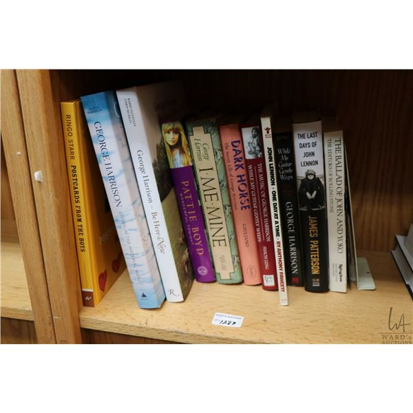 """Selection of Beatles and Beatles related books including """"Ringo Starr- Postcards from the Boys"""", """"Ge"""