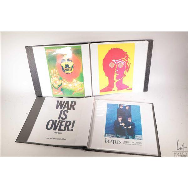 Two folios containing approximately fifty eight Beatles theme album covers,  promo photos etc, print