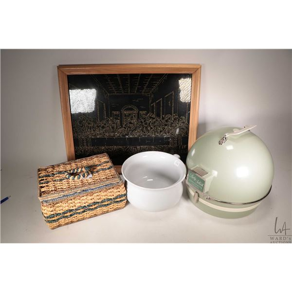 Selection of vintage collectibles including woven sewing basket, Lady Schick Consolette hair dryer,