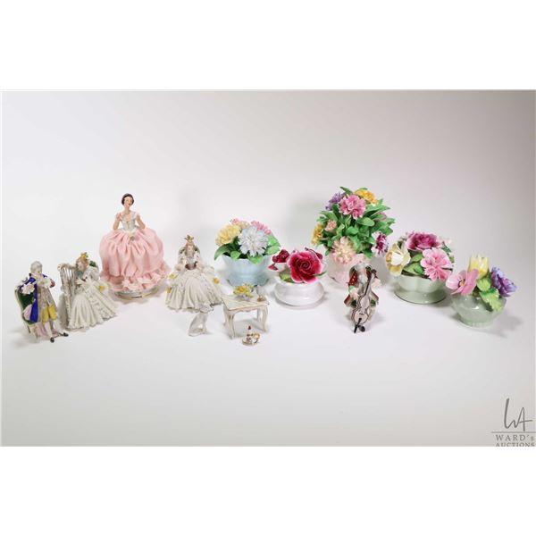 Selection of porcelain collectibles including Dresden and Dresden like figures, porcelain florals et