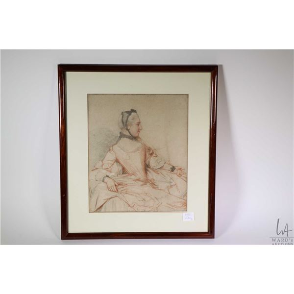 Two framed prints including black and red chalk drawing of a figure in Rococo dress and a Rubenesque