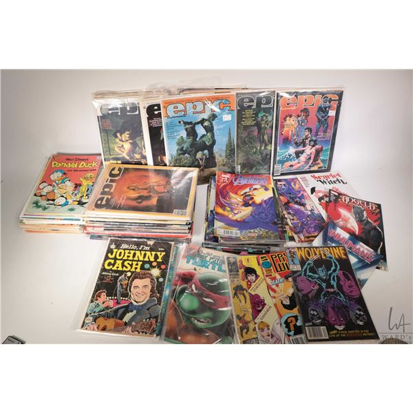 Selection of collectible comic books including Epic, Avengers, Marvel, TMNT, Donald Duck etc. Approx