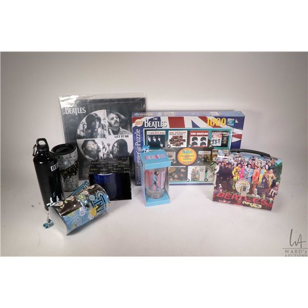 Selection of Beatles collectibles including 1000 pc. puzzle, aluminium drink bottle, lunch box, mugs