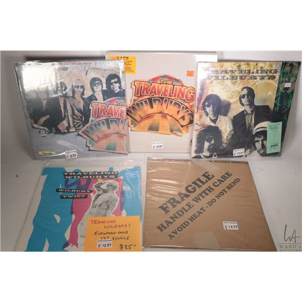 """Five """"Traveling Wilburys"""" LPs including factory sealed 3 LP box set ( USA), a 10"""" single """"Handle wit"""
