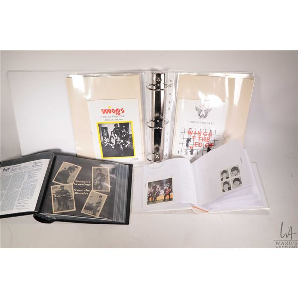 Selection of Beatles collectibles including a binder of Wings Fan Club books and miscellaneous Wings