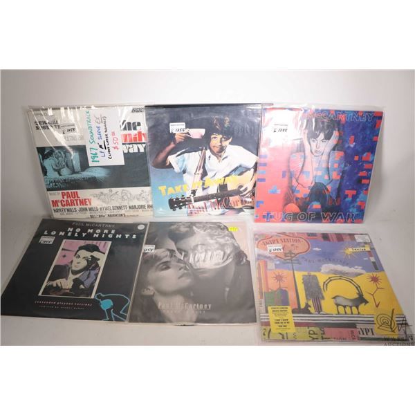 """Six Paul McCartney records including factory sealed double album set, """"Press to Play"""" ( made in Indi"""