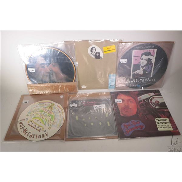 """Six Paul McCartney or John Lennon LPs including a McCartney single """"Press"""" in fold out round cover ("""
