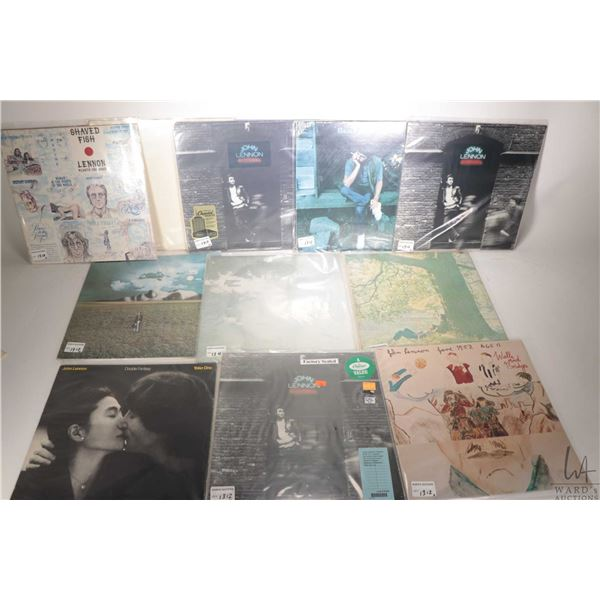 """Selection of Beatles, Ringo and Lennon LPs including """"White Album"""" serial no. 122361 with gold Deuts"""