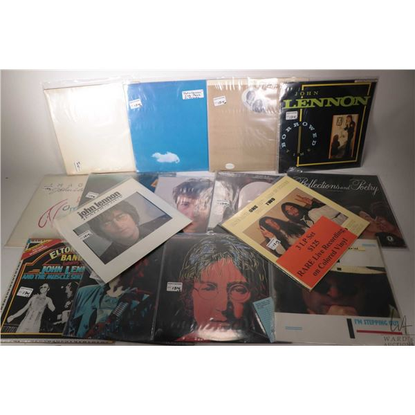 """Fourteen John Lennon albums including """"Jealous Guy"""" (UK pressing), """"One and One and One is Three"""" on"""