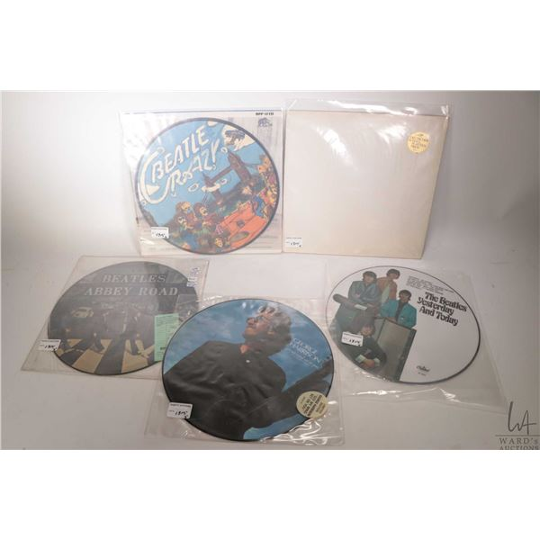 """Four Beatles or Beatles related picture discs including """"Beatle Crazy"""" (Bear Family Records) George"""
