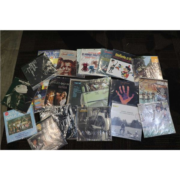 """Twenty two assorted LPs including George Harrison, """"Nilsson Schmilsson"""", Keith Moon, James Taylor, B"""