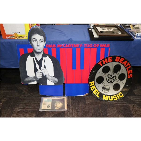 """Two vintage record store promo displays including ?The Beatles Reel Music"""" and """"Paul McCartney Tug o"""