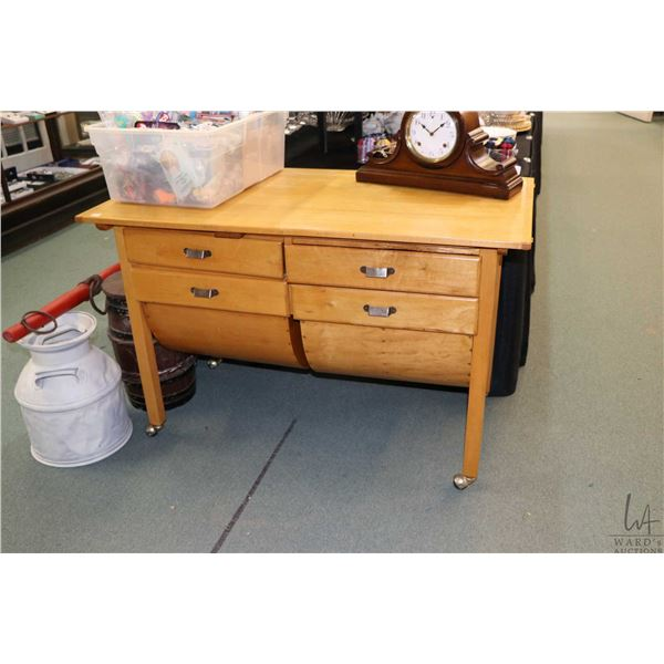 Vintage wooden baker's table with two half round flour bins, two drawers and two pull out cutter boa