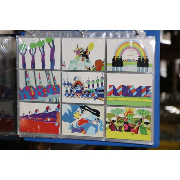 """Album with assorted Beatles themed collector cards including Yellow Submarine, """"The Beatles"""" from Sp"""