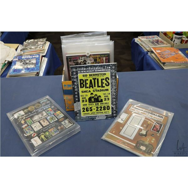 Box of auction catalogues and related with Beatles references. LOCAL PICK UP ONLY, NO SHIPPING AVAIL