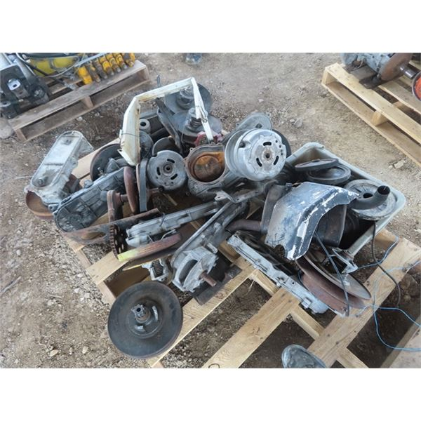 Pallet of Early 1970's Snowmobile Parts Clutches, Track Rollers, Bogee Wheels, & Muffler