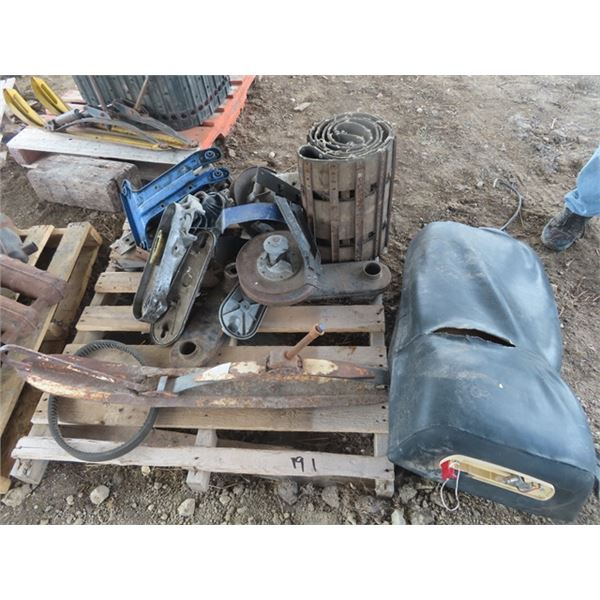 Pallet of Early 70's Snowmobile Part- Chain Cases Drive Clutches, Track & Seat