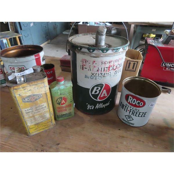 4 Oil Cans - BA 5 Gal , BA Outboard Motor Oil, ROCO Antifreeze, GM Motor Co Shock Absorber Fluid