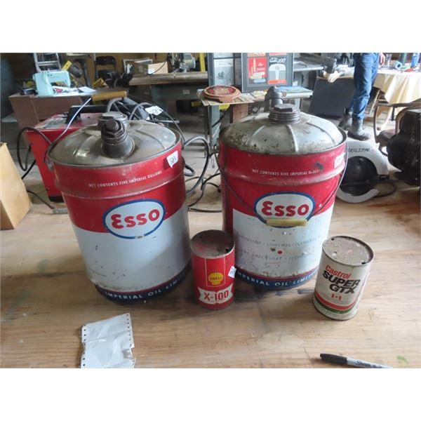 2 - 5 Gal Esso Pails, Shell X-100 Motor OIls, Castrol Super GTX Can