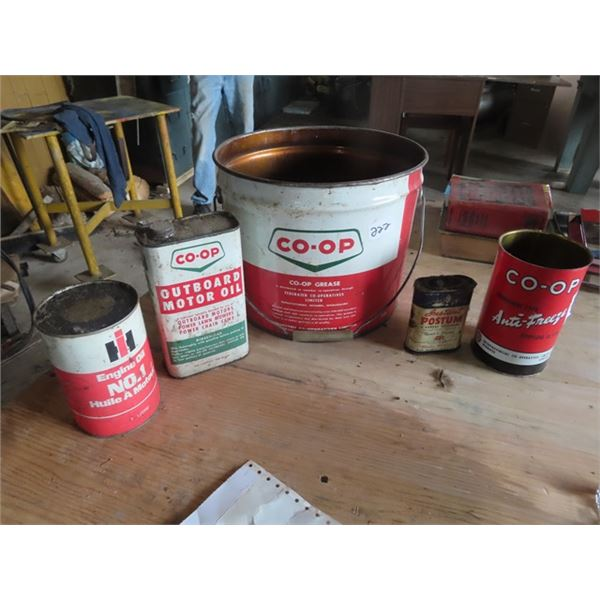 Coop 25LB Grease Pail, COOP Outboard Motor Oil, Coop Antifreze, International Quart Can, Instant Pos