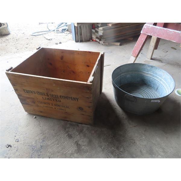 Galv Tub, Crown Cork & Seal Crate