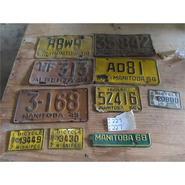 10 License Plates 42-77 Automobil & Bicycle