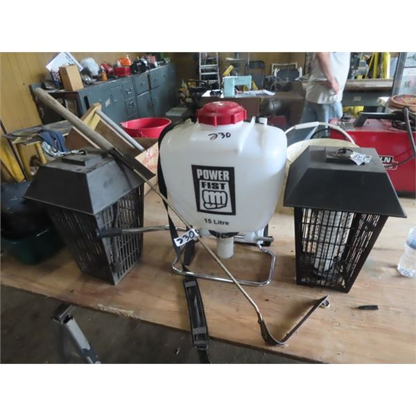 2 Bug Zappers, Power Fist 15 L Back Pack Sprayers, Hand Grass Whip